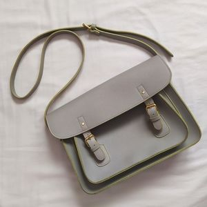 Grey Buckled Satchel with Lime Green Detail